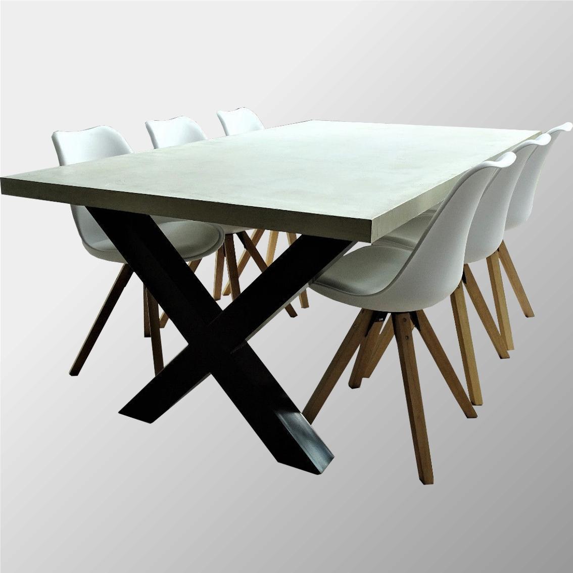esstisch garten tisch beton optik grau design beine x gestell stahl 180 x100cm ebay. Black Bedroom Furniture Sets. Home Design Ideas