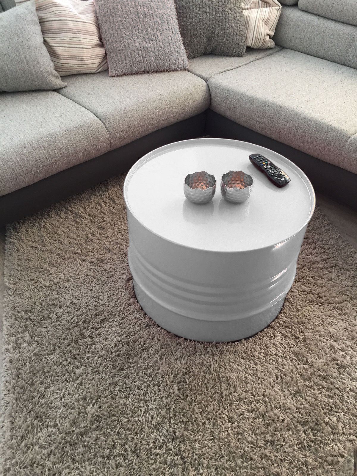 fassmobel beistelltisch tisch fass design mobel couchtisch grau o 57cm