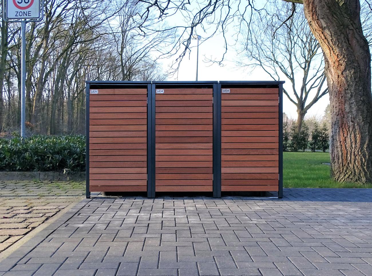 3 mülltonnenboxen für 120 liter-mülltonnen in edeldesign anthrazit