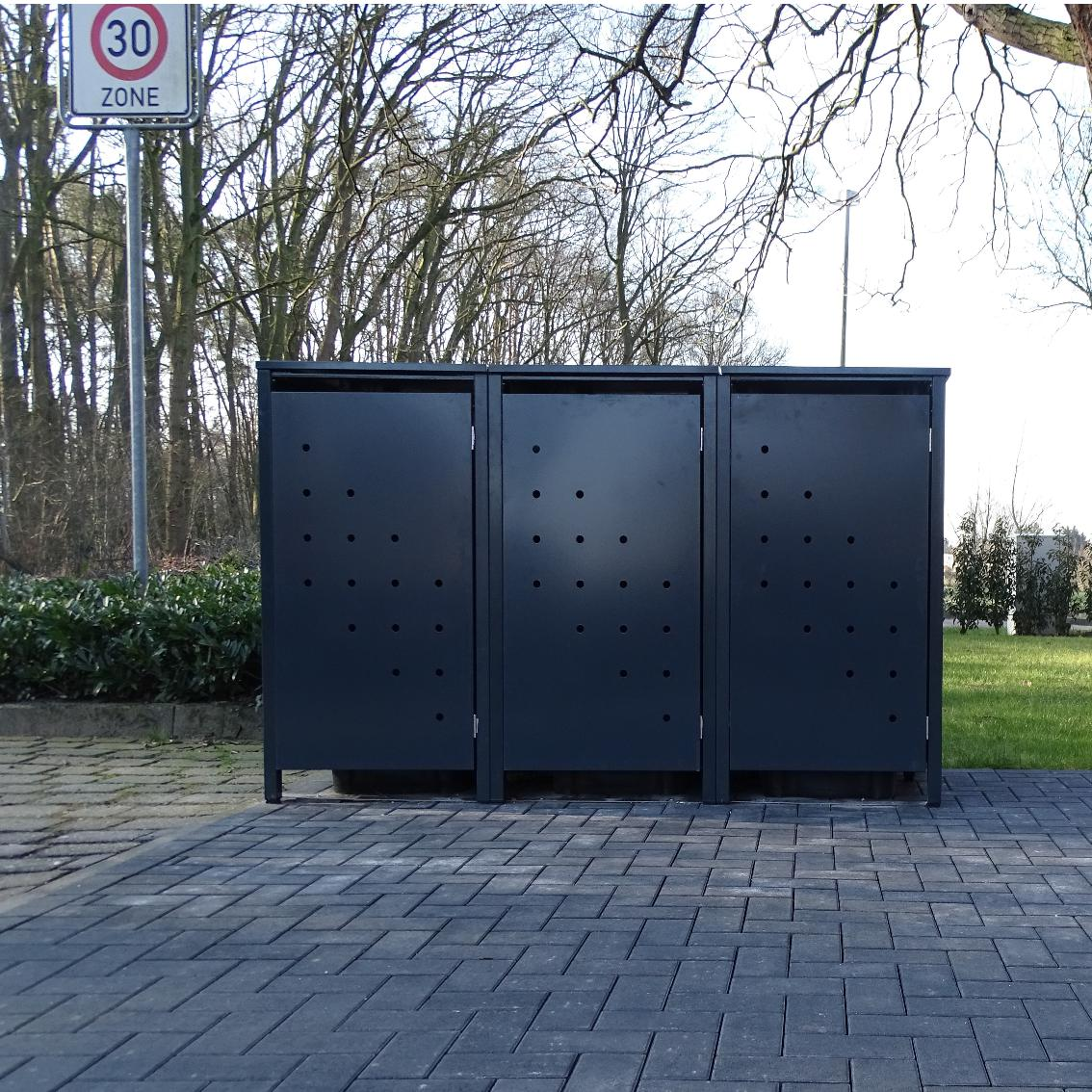 3 m lltonnenboxen modell no 4 anthrazit komplett ral7016 f r 240liter m lltonnen ebay. Black Bedroom Furniture Sets. Home Design Ideas