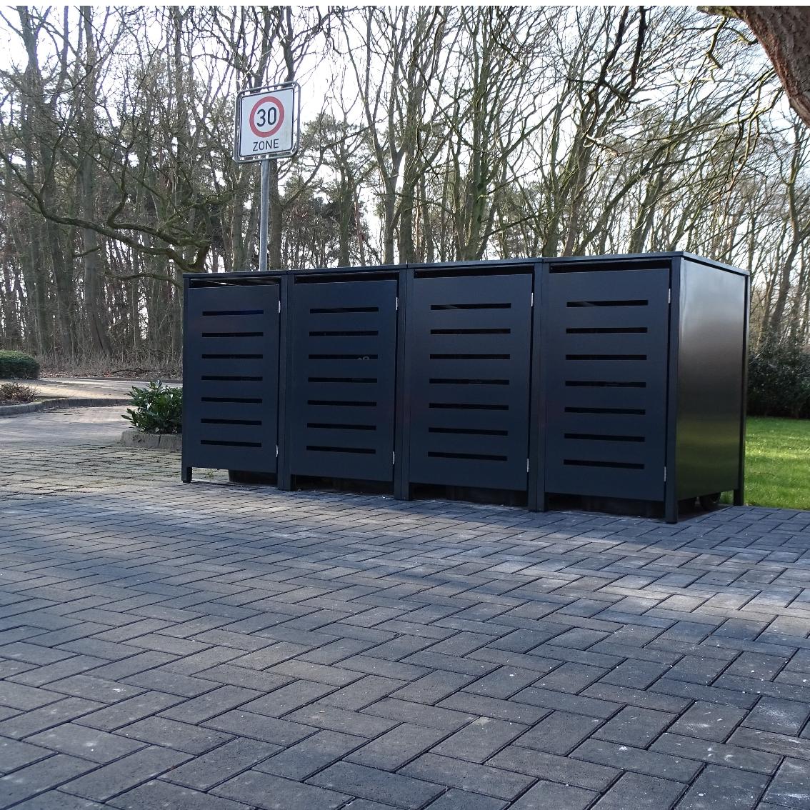 3 Mülltonnenboxen ohne Stanzung Anthrazitgrau für 240 Liter Mülltonnen