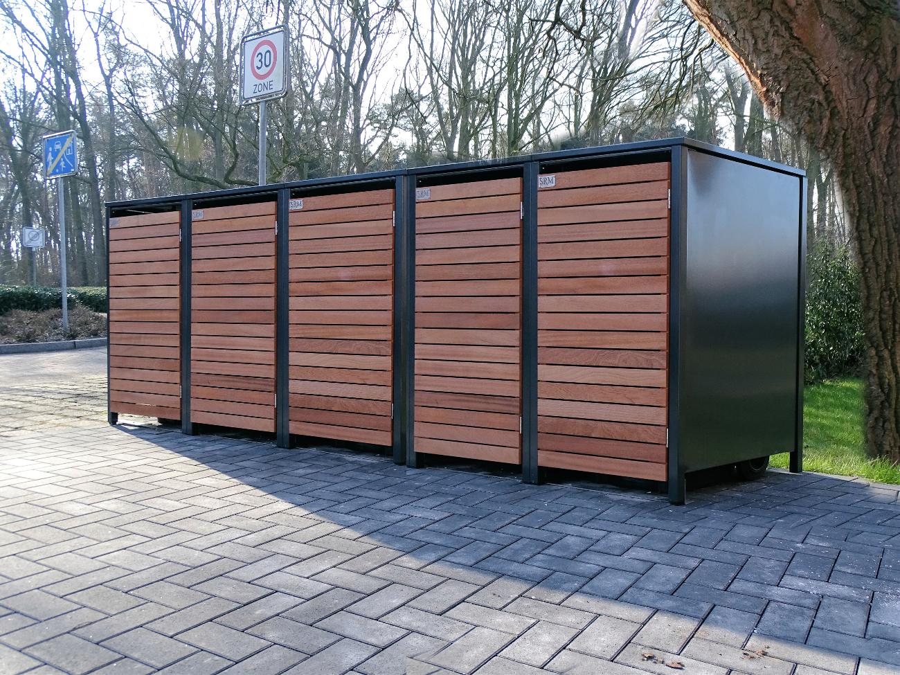 5 mülltonnenboxen für 120 liter-mülltonnen in edeldesign anthrazit