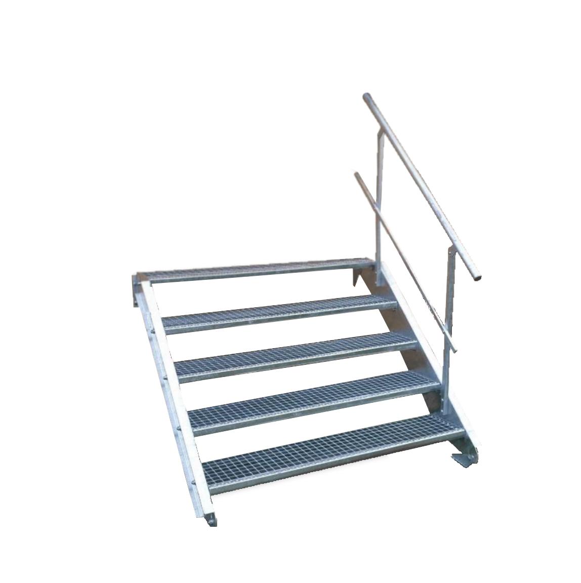 Wangentreppe Inklusive Zubeh/ör 5 Stufen Stahltreppe Breite 110cm Geschossh/öhe 70-105cm Stabile Industrietreppe f/ür den Au/ßenbereich Robuste Au/ßentreppe